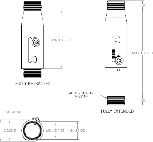 Technical Drawing for Chief Speed Connect Adjustable Extension Column