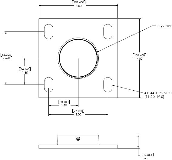 Technical Drawings for Chief CMA105 - 4 inch Ceiling Plate