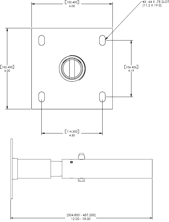 Technical Drawing for Chief CMA-700 Ceiling Plate with Adjustable Column