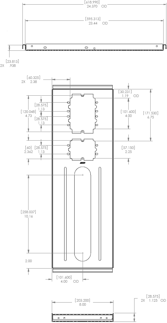 Technical Drawing for Chief CMS-440 Speed Connect Above Tile Suspended Ceiling Plate