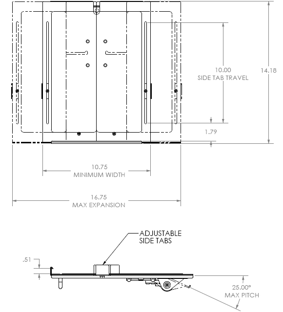 Technical Drawings for Chief KSA1013B Notebook Tray