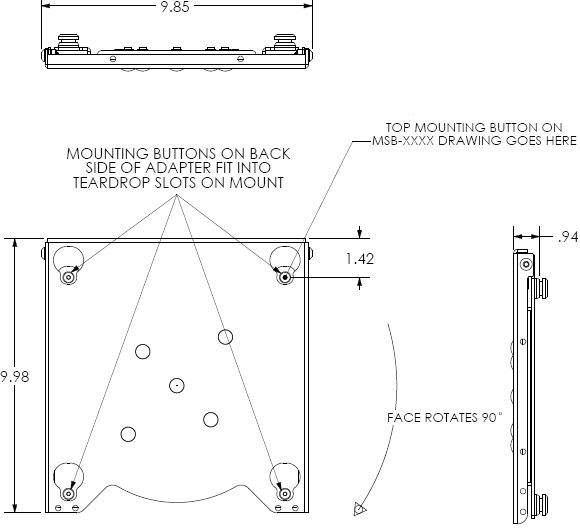 Technical Drawing for Chief MAC400 Rotation Adapter for Medium Flat Panel