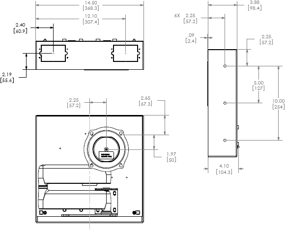 Technical Drawing for Chief MAC501B Flat Panel In-Wall Swing Arm Accessory