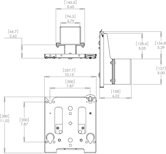 Technical Drawing for Chief MAC720 Dual Display Mounting Accessory