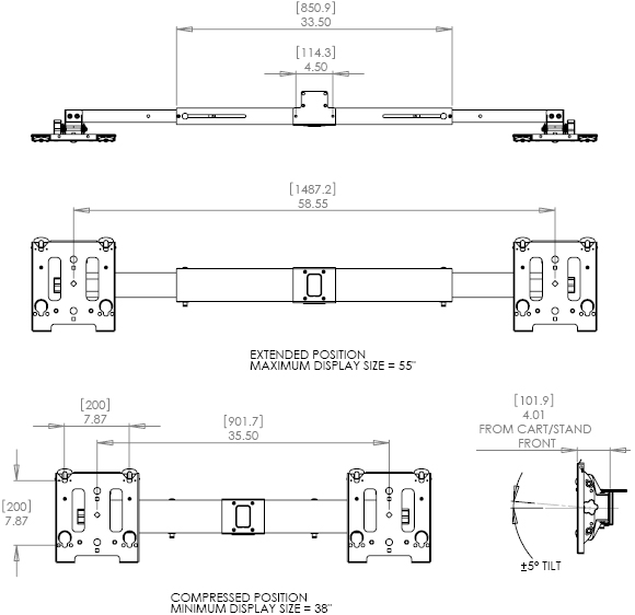 Technical Drawing for Chief MAC722 Dual Side-by-Side Accessory Black