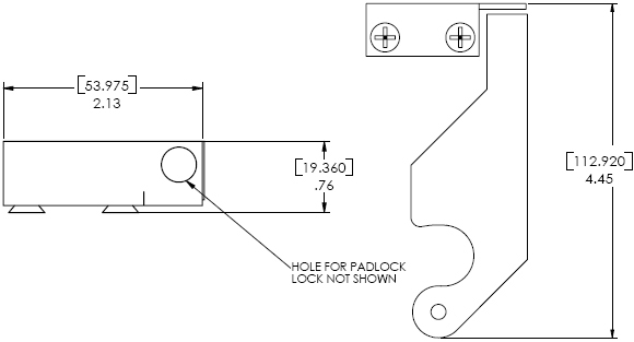 Technical Drawing for Chief PAC135 Lockable Latch with Padlocks/Keys