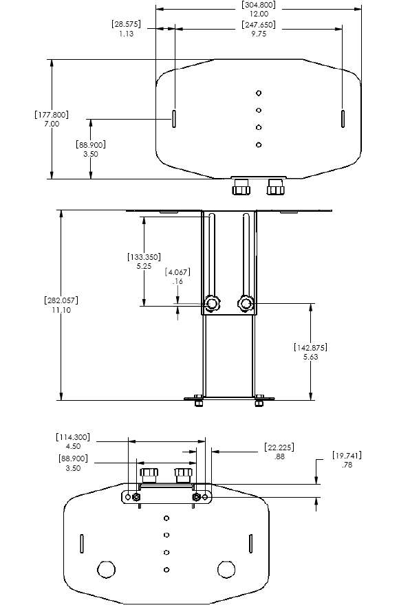 Technical Drawing for Chief PAC150 Video Conferencing Camera Shelf