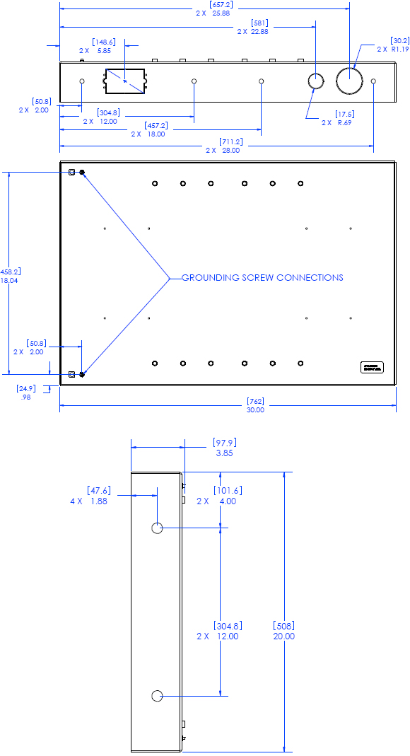 Technical Drawing for Chief PAC501 Flat Panel In-Wall Swing Arm Accessory