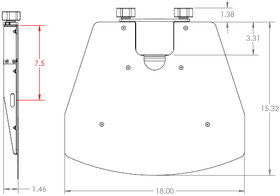 Technical Drawing for Chief PAC710 Height-Adjustable Accessory Shelf White