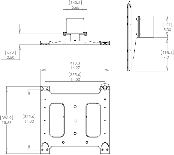 Technical Drawing for Chief PAC720 Dual Display Mounting Accessory