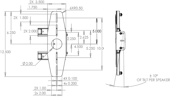 Technical Drawing for Chief PACLR1 Flat Panel Left or Right Speaker Adapter