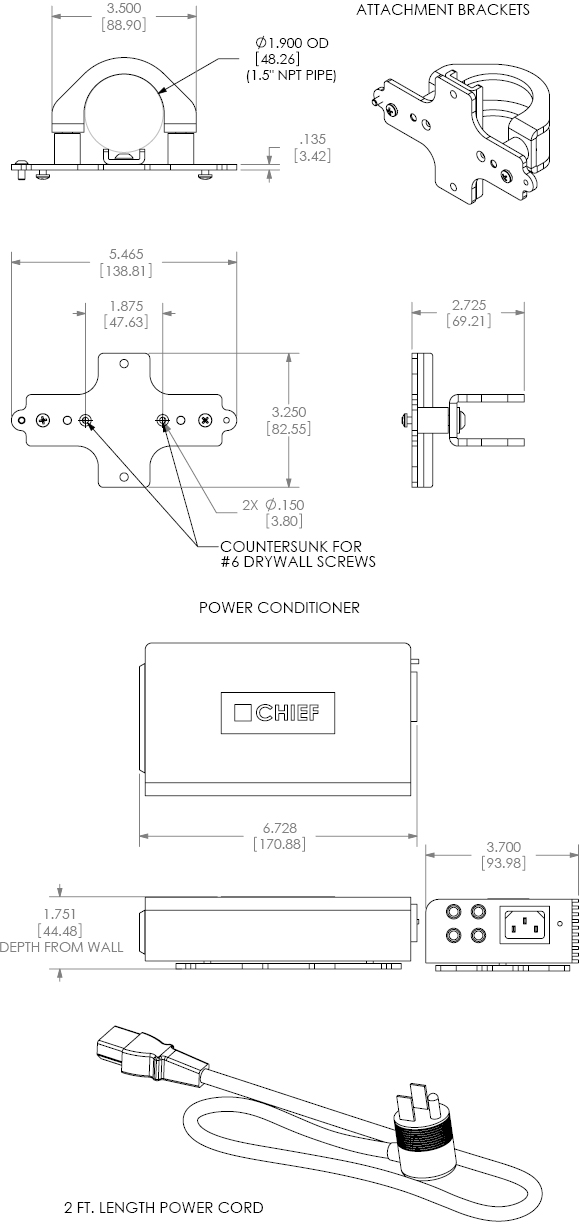Technical Drawing for Chief PACPC1 Flat Panel Power Filter Kit Black