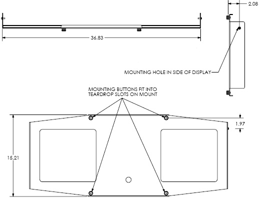 Technical Drawing for Chief PSB2020 Interface Bracket for Large Display Mounts