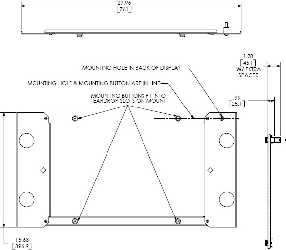 Technical Drawing for Chief PSB2022 Interface Bracket for Extra Large Mounts