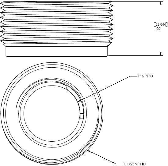 "Technical Drawing of Chief CMA151 NPT 1.5""-1"" Extension Adapter"