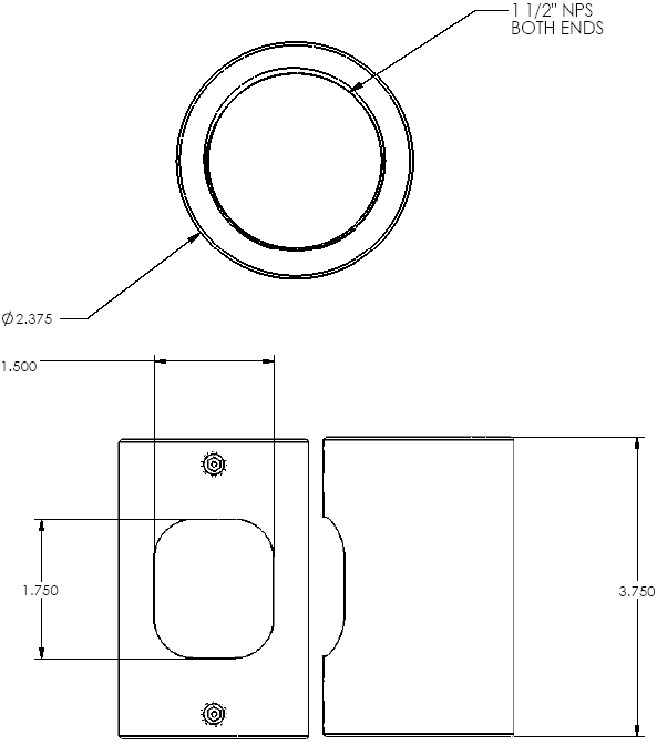 Technical Drawing of Chief CMA152 Threaded Pipe Adapter Black