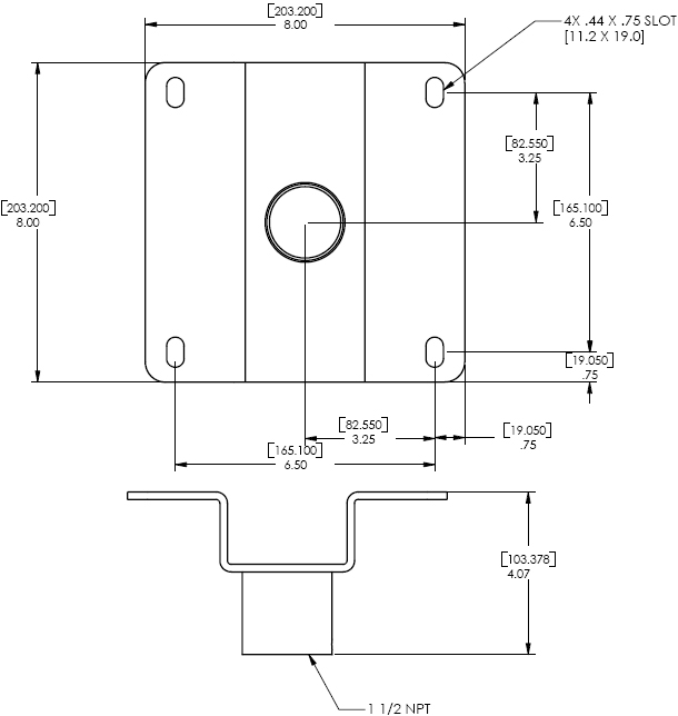 "Technical Drawing of Chief CMA-330 - 8"" Offset Ceiling Plate Black"