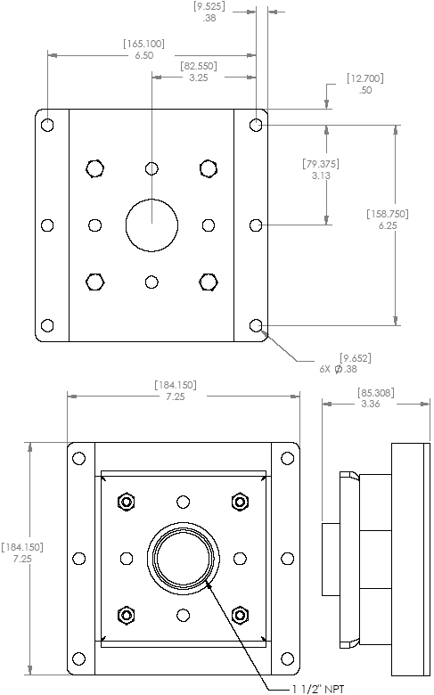 Technical Drawing of Chief CMA-345 Structural Ceiling Plate Black