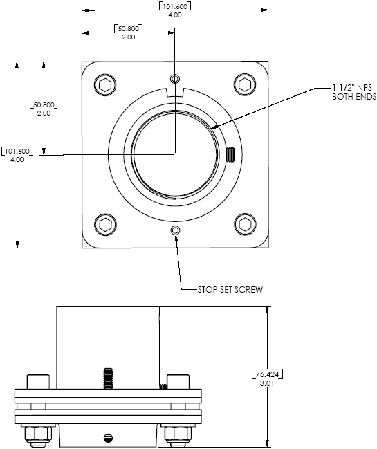 Technical Drawing of Chief CMA351 Heavy Duty Swivel Adapter Black