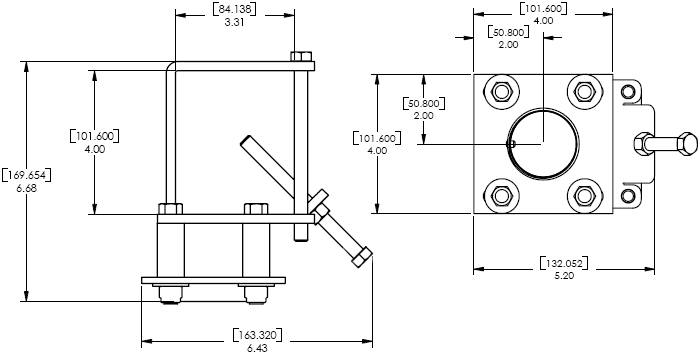 Technical Drawing of Chief CMA362 C Clamp Structural Adapter Black