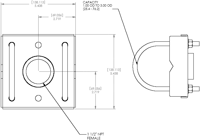 Technical Drawing of Chief CMA365 Truss Ceiling Structural Adapter Black
