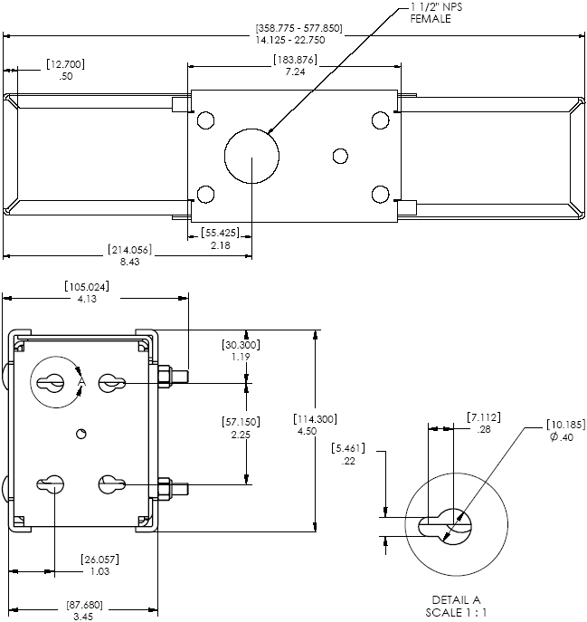 Technical Drawing of Chief CMA385 Internal Joist Structural Adapter Mount