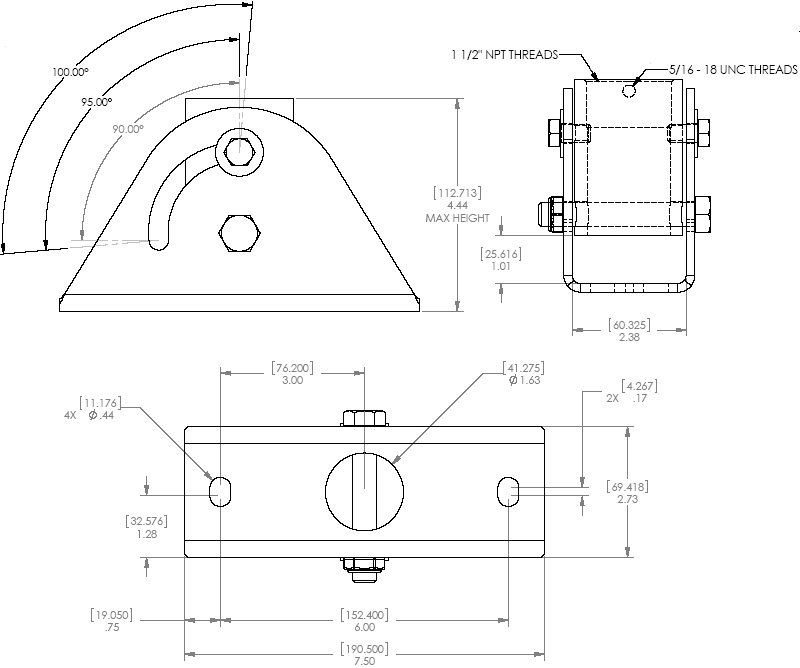 Technical Drawing of Chief CMA-395 or CMA395W Angled Ceiling Plate