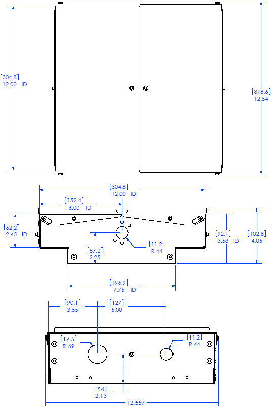 Technical Drawing of Chief CMA472 Above Tile Storage Accessory White