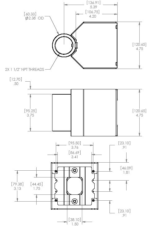 Technical Drawing of Chief CMA504 Dual Electric Outlet Coupler Black