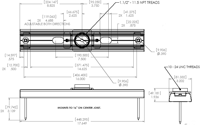 Technical Drawing of Chief CMS390 or CMS391 Dual Joist Ceiling Adapter