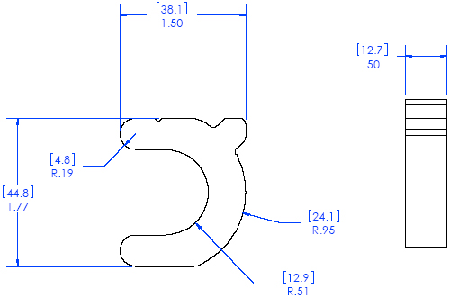 Technical Drawing of Chief FCA101 FUSION Lock Down Collar Accessory