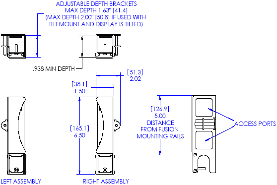 Technical Drawing of Chief FCA102 FUSION Secure CPU or Media Player Adapter
