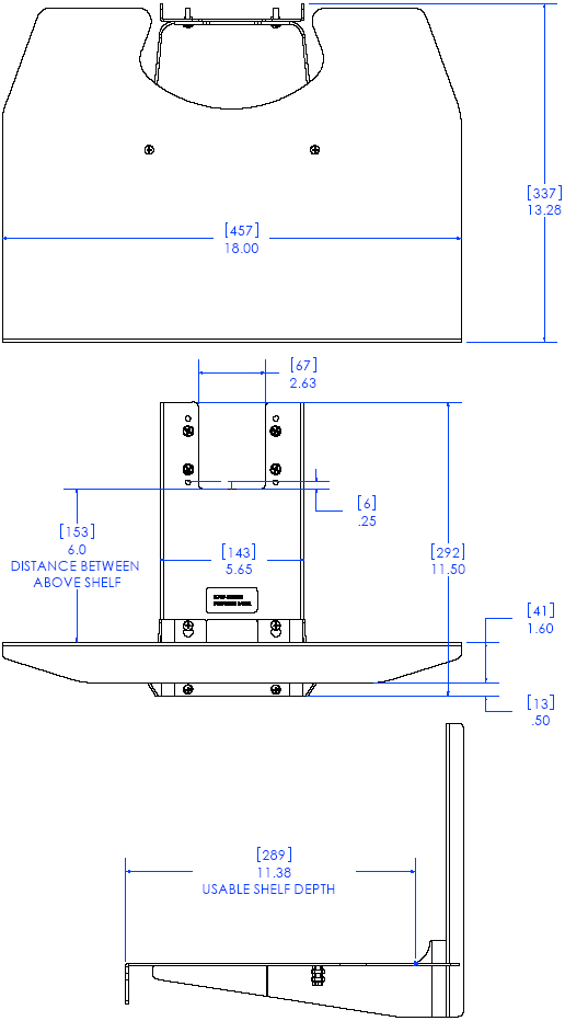 Technical Drawing of Chief FCD100 FUSION Stackable Component Shelf Black