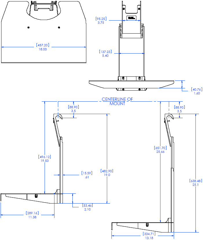 Technical Drawing of Chief FCS100 FUSION Component Shelf Black
