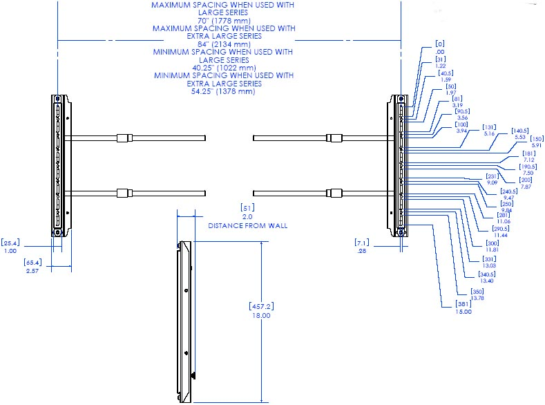 Technical Drawing of Chief FLR100 FUSION Left/Right Speaker Adapter