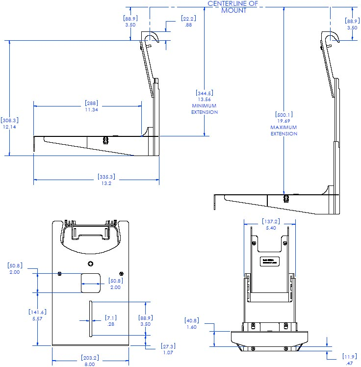Technical Drawing of Chief FVS100 FUSION Below Video Conferencing Camera Shelf
