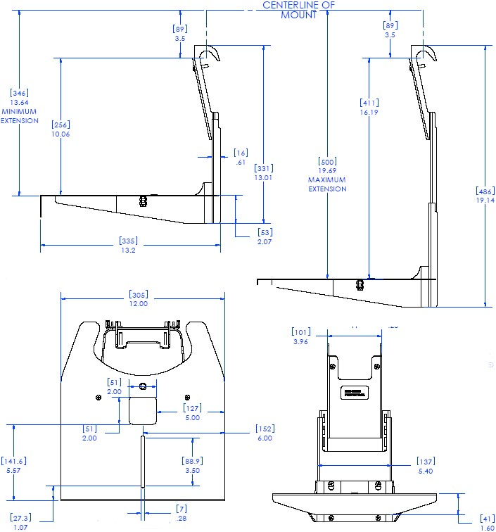 "Technical Drawing of Chief FVS150 FUSION 12"" Below Video Conferencing Camera Shelf"