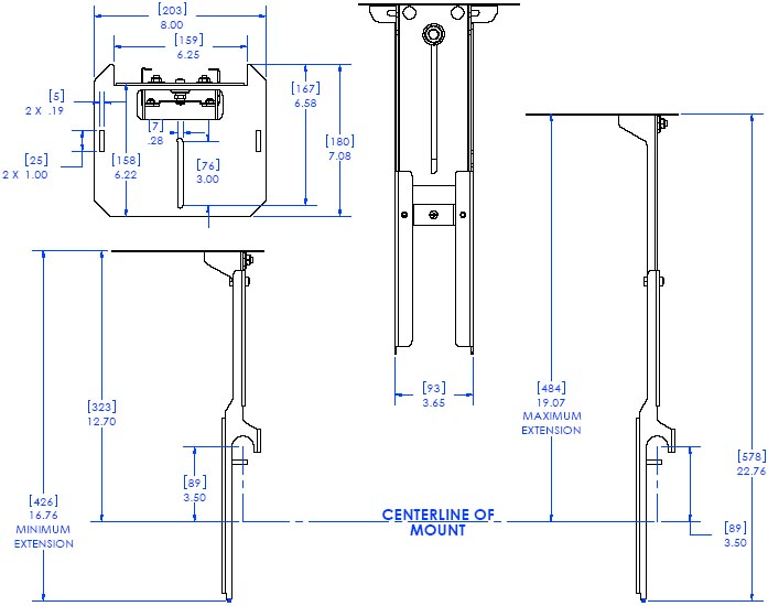 "Technical Drawing of Chief FVS200 FUSION 8"" Above Video Conferencing Camera Shelf"