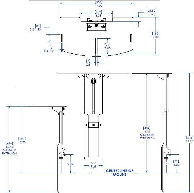 "Technical Drawing of Chief FVS251 FUSION 14"" Above Video Conferencing Camera Shelf"