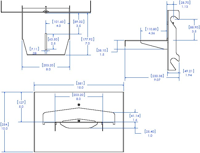 "Technical Drawing of Chief FVS300 FUSION 8"" In-Line Video Conferencing Camera Shelf"