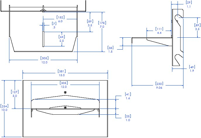 "Technical Drawing of Chief FVS350 FUSION 12"" In-Line Video Conferencing Camera Shelf"