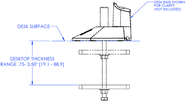 Technical Drawing of Chief KRA202 Series KONTOUR Bolt Down Grommet Plate and Hardware