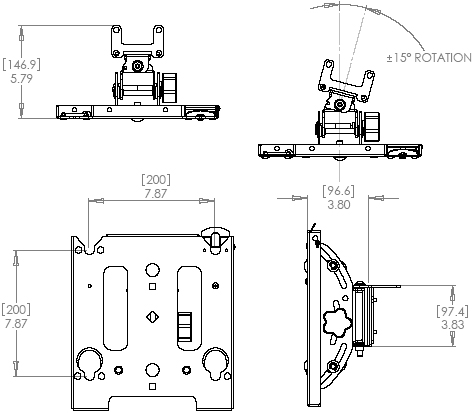 Technical Drawing of Chief MAC790 M-Series Swivel Accessory Black