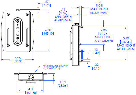 Technical Drawing of Chief OFBUB or OFBUS Universal Slat Wall Bracket