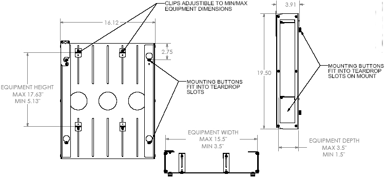 Technical Drawing of Chief PAC251 P Series CPU or DVD or Media Player Adapter Black