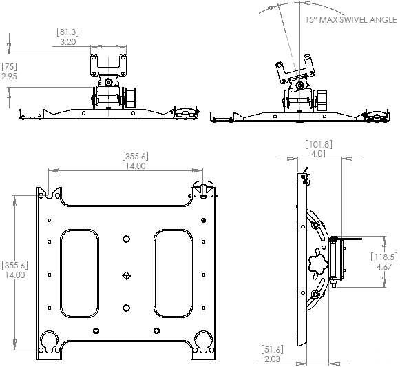 Technical Drawing of Chief PAC790 P-Series Swivel Accessory Black