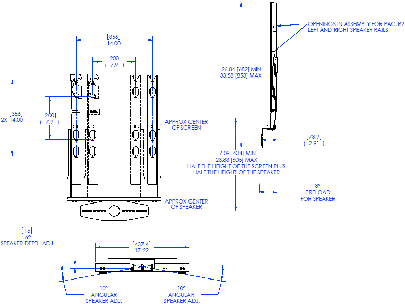 Technical Drawing of Chief PACCC2 Center Channel Speaker Adapter Black