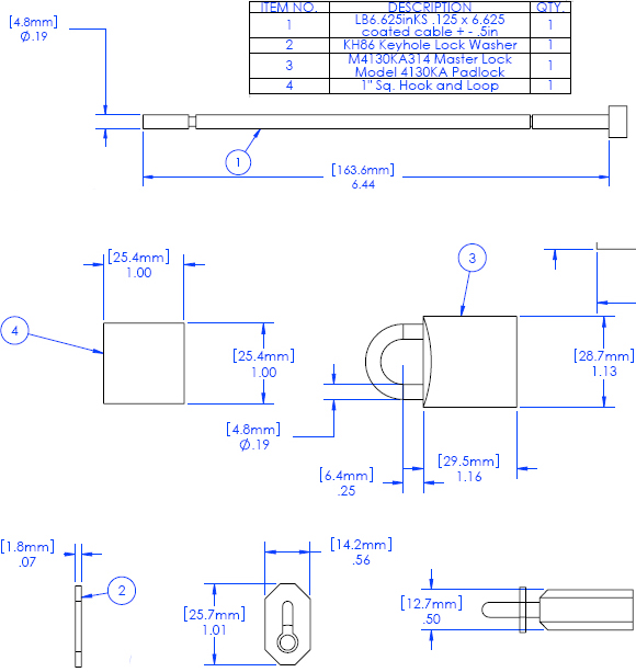 Technical Drawing for Chief PAC LK1 Cable Lock Security Kit
