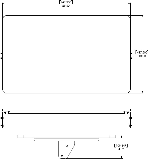 Technical Drawing for Chief PAS100 Accessory Shelf for Presenters Cart
