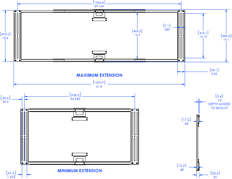 Technical Drawing of Chief TA300 Thinstall Left/Right Speaker Adapter Black